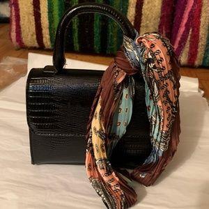 Cute Faux Croc Black Mini Bag w.Multicolor Scarf
